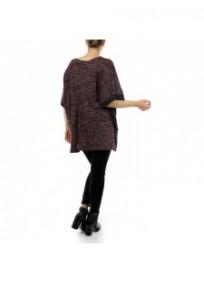 tunique grande taille - haut bordeaux avec détails simili cuir 2W (porté dos)