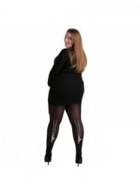 """collant fantaisie grande taille - collant opaque noir  """"griffes de chat"""" Pamela Mann (porté)"""