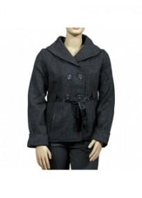 Manteau grande taille - caban gris chiné col châle (face)