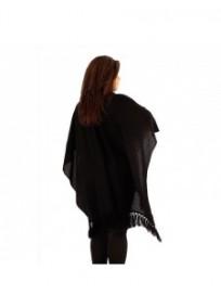 """gilet veste grande taille - cape poncho """"drew"""" Lili London noire (côté)"""