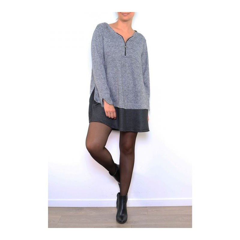 robe grande taille - robe courte 2 en 1 zippée 2W (portée face)