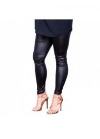 "pantalon grande taille - legging wet look ""hotline"" Lili London noir"