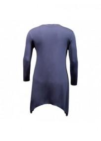 gilet grande taille - long gilet pans asymétriques bleu jeans Danny (dos)