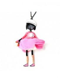 collier fantaisie grande taille - collier pepette Béatrice coloris rose Lol bijoux
