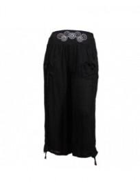 Pantalon grande taille - pantalon fluide 7/8eme H3 noire (face)