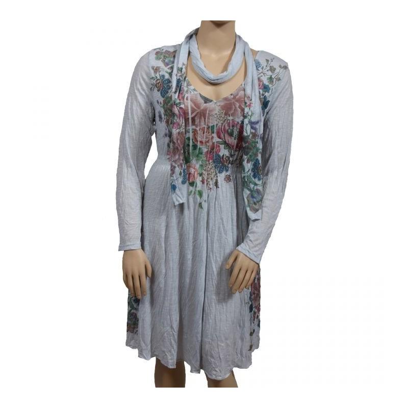 robe & foulard assorti Claude Gérard grande taille (face)