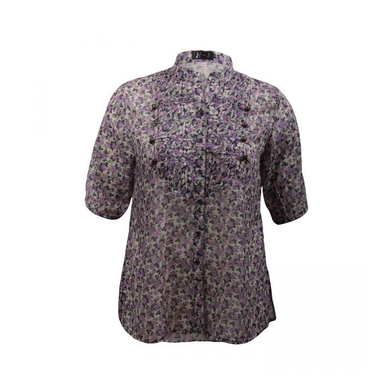 chemisier grande taille - chemisier manches courtes motif fleuri coloris violet (face)