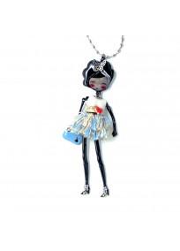 """Collier grande taille - sautoir """"Lilou"""" coloris blanc de la collection """"les pepettes"""" Lol bijoux"""
