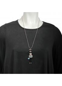 """Collier grande taille - sautoir """"Lilou"""" coloris blanc de la collection """"les pepettes"""" Lol bijoux (porté)"""