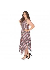 """Robe grande taille asymétrique """"Stripe"""" Lili London - porté côté"""