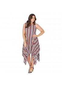 """Robe grande taille asymétrique """"Stripe"""" Lili London - porté face"""