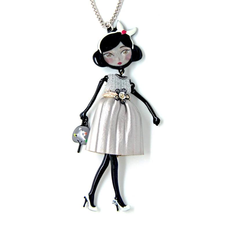 """collier fantaisie grande taille - collier pepette Lisa coloris argent """"les pepettes"""" Lol bijoux"""