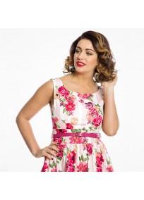 """robe grande taille - robe vintage """"Delta"""" Lindy Bop imprimé """"Bouquet floral"""" (face porté zoom)"""