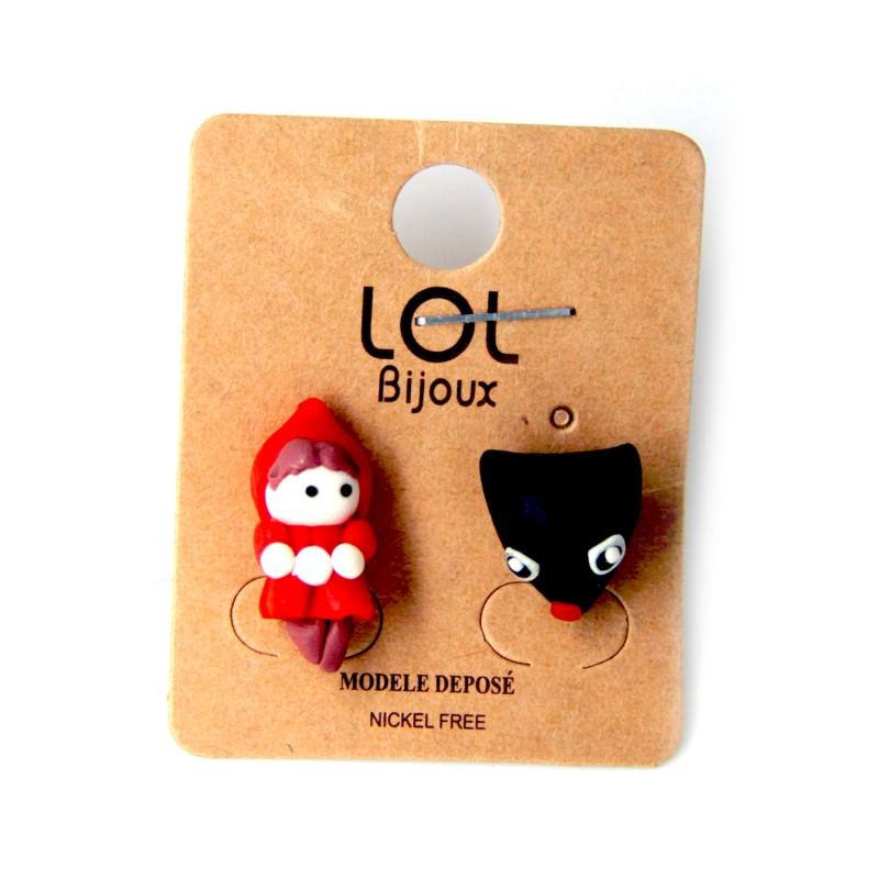 boucles d'oreilles grande taille - BO chaperon rouge Lol bijoux