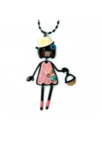 collier fantaisie grande taille - collier pepette Laura coloris rose lol bijoux