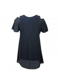 top et tuniques grandes tailles - tunique épaules dénudées avec zip bleu marine 2W (dos)
