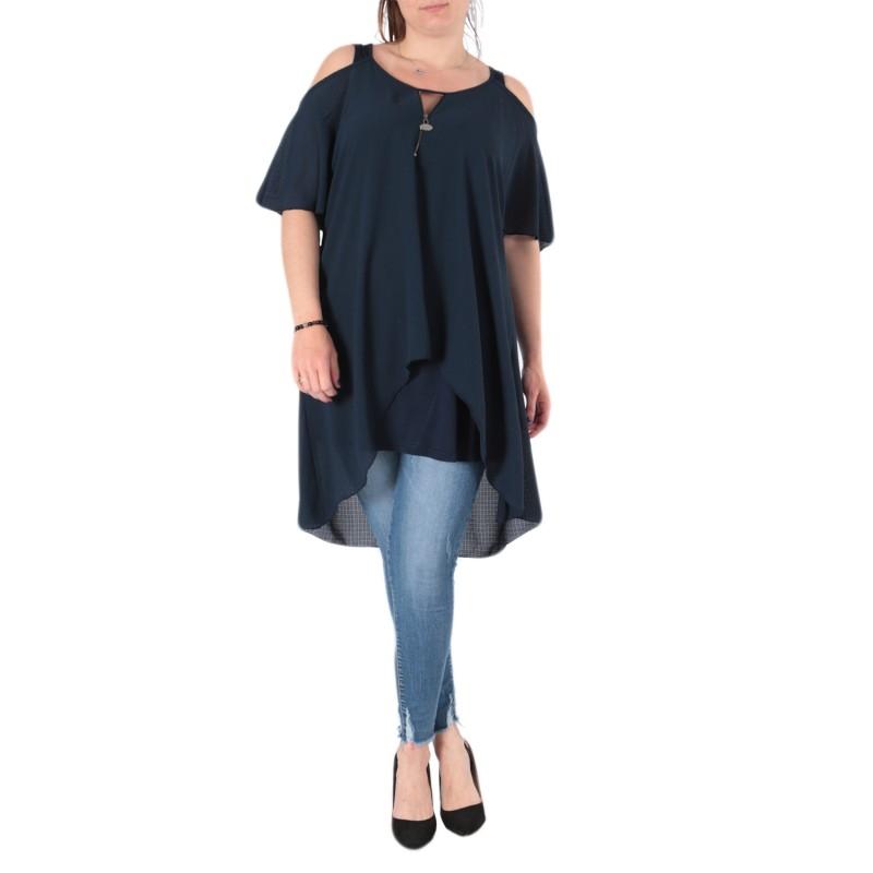 top et tuniques grandes tailles - tunique épaules dénudées avec zip bleu marine 2W (face porté)