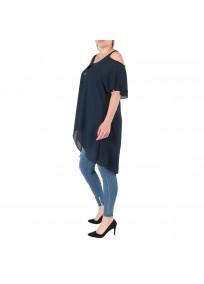 top et tuniques grandes tailles - tunique épaules dénudées avec zip bleu marine 2W (côté porté)