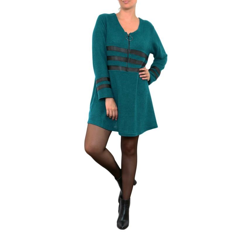 robe grande taille - robe pull forme corolle zippée 2w bleu canard (porté face)