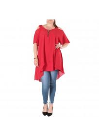 top et tuniques grandes tailles - tunique épaules dénudées avec zip rouge 2W (porté face)