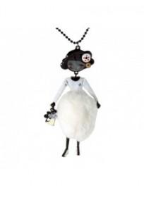 collier fantaisie grande taille - collier sautoir pepette Betty coloris blanc lol bijoux