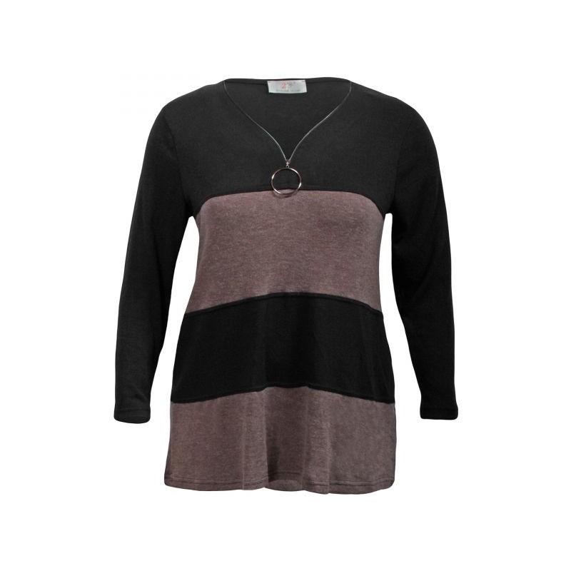 pull grande taille - pull rayé et zippé coloris noir / taupe 2W (face)
