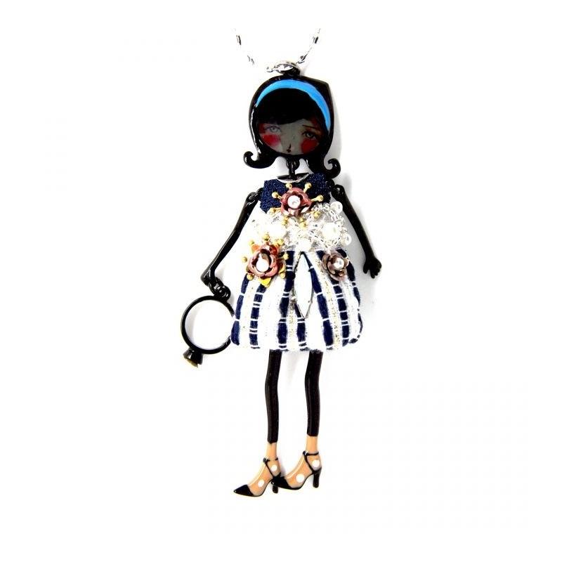 """collier fantaisie grande taille - sautoir pepette Sandra coloris bleu """"les pepettes"""" Lol bijoux"""