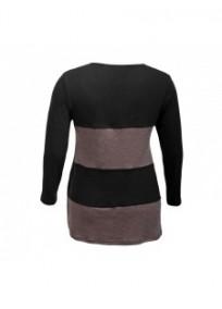 pull grande taille - pull rayé et zippé coloris noir / taupe 2W (dos)