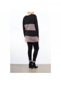 pull grande taille - pull rayé et zippé coloris noir / taupe 2W (porté dos)