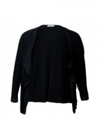 Veste grande taille - gilet blazer noir Maelle (face)