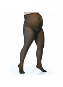 Collants grossesse grande taille - collants maternité 20 deniers fin noirs (face)