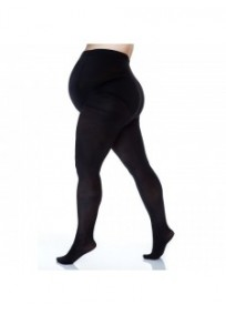Collants grossesse grande taille - collants maternité 50 deniers opaque noirs (dos)
