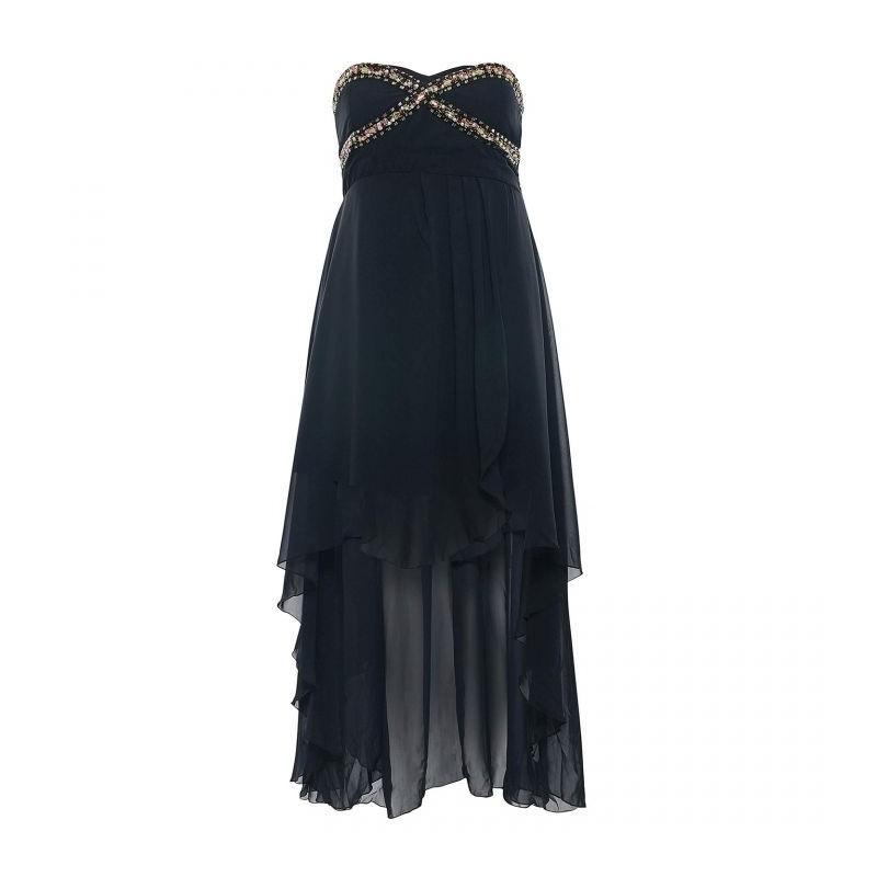 8b4b885b3a1 robe grande taille - robe bustier de soirée en voile asymétrique noire  Ruby s closet (face