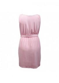 "robe grande taille - robe courte rose col bénitier avec ceinture ""Kathleen"" Lili London (dos)"