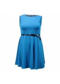 robe grande taille - robe patineuse coloris bleu cobalt new look (face)