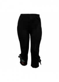 pantalon grande taille - pantacourt leger brodé côté gauche nanabelle ladybelle (face)
