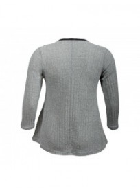 pull grande taille - pull côtelé empiecements simili cuir coloris gris (dos)