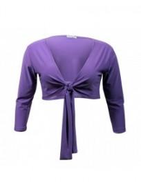 gilet grande taille - boléro à nouer manches longues Magna coloris violet clair (face)