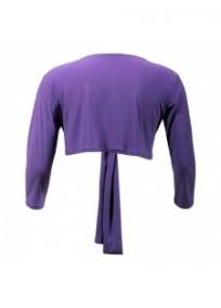 gilet grande taille - boléro à nouer manches longues Magna coloris violet clair (dos)