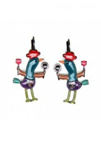 boucles d'oreilles fantasie - dormeuses émaillées bleues maïté la poule lolilota