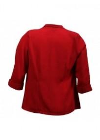 Veste grande taille - veste col cascade manches 3/4 rouge (dos)
