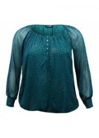 tunique grande taille - top chemisier manches longues avec pois pailletés blue chameleon vert émeraude (face)